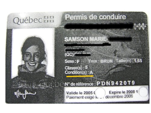 Marie Canadian Driver License with restriction before eyesight lessons